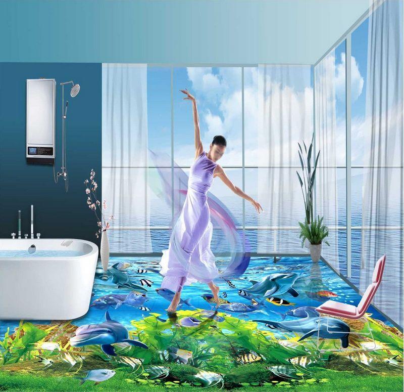 Peces De Agua Gass 4637 3D Piso Impresión De Parojo De Papel Pintado Mural Calcomanía 5D AJ Wallpaper