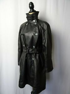 9a5fa89a7 Details about Women's Vintage Armani Full Length Black Leather Trench Coat  Jacket Size 10