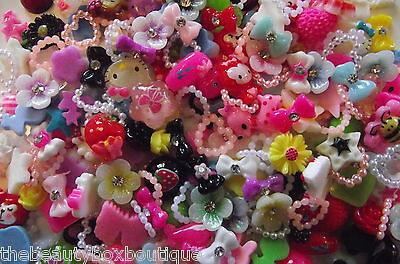 50 X NAIL ART ACCESSORIES MIX BOWS RHINESTONES PEARLS HEART ART AND CRAFT JOBLOT