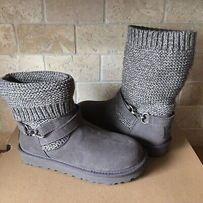 cc7addbb57e UGG Purl Knit Strap Suede Charcoal Convertible Short Ankle Boots Size 11  Womens | eBay