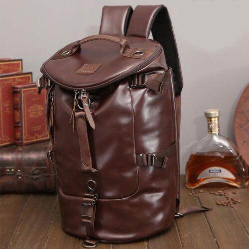 Vintage Men Leather Travel Backpack Luggage Duffle Bag Weekend Overnight Handbag