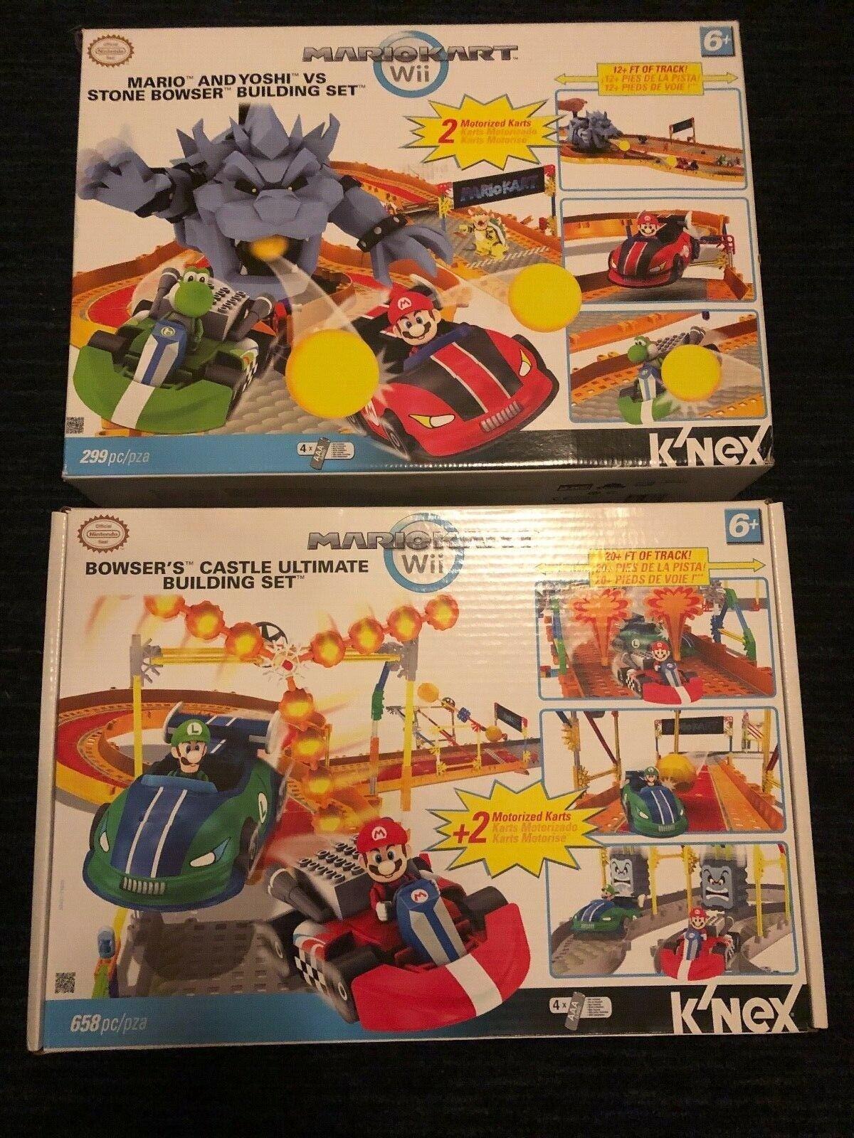 Lote de 15 diferentes conjuntos de K 'nex Mario Kart Wii, Piedra Bowser Ultimate Castillo, nuevo