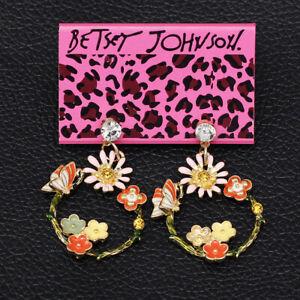 Betsey-Johnson-Enamel-Crystal-Sunflower-Butterfly-Dangle-Earbob-Women-039-s-Earrings