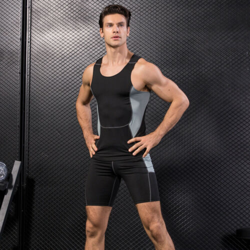 Men/'s Training Fitness Running Elastic Tight Tank Tops Stretch Sports Vest