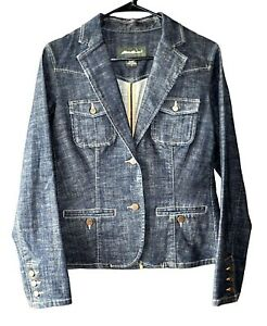 Eddie-Bauer-Womens-Size-S-Blue-Denim-Blazer-Structured-Jean-Jacket