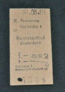 Fahrkarte DR Reichsbahn Oebisfelde - Beetzendorf (Sachs-Anh) von 1966