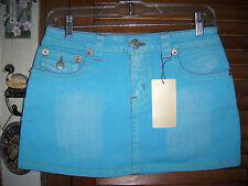 Joy Jeans~NWT's sz 7 Aqua Blue Jean   mini skirt/ button back pockets yellow acc