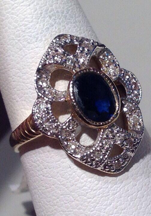VINTAGE SAPPHIRE  & 14K YELLOW gold RING  WITH DIAMOND5  -SZ.6.5 NWT  1687.00