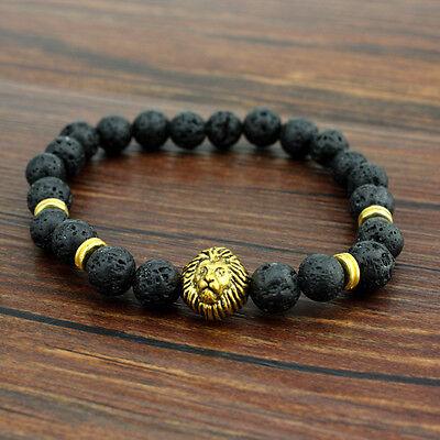 Fashion 8MM Men's Black Lava Stone Gold Head Lion Elastic Beaded Charm Bracelet