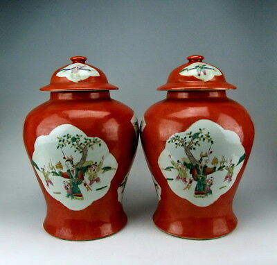 Antiques Amiable Pair Of China Antiques Red Glazed Qianjiangcai Porcelain Lidded Jars