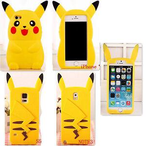 689ab0e6cf 3D Cartoon Pokemon Pikachu Cute Mobile Cell Phone Case Silicone Gel ...