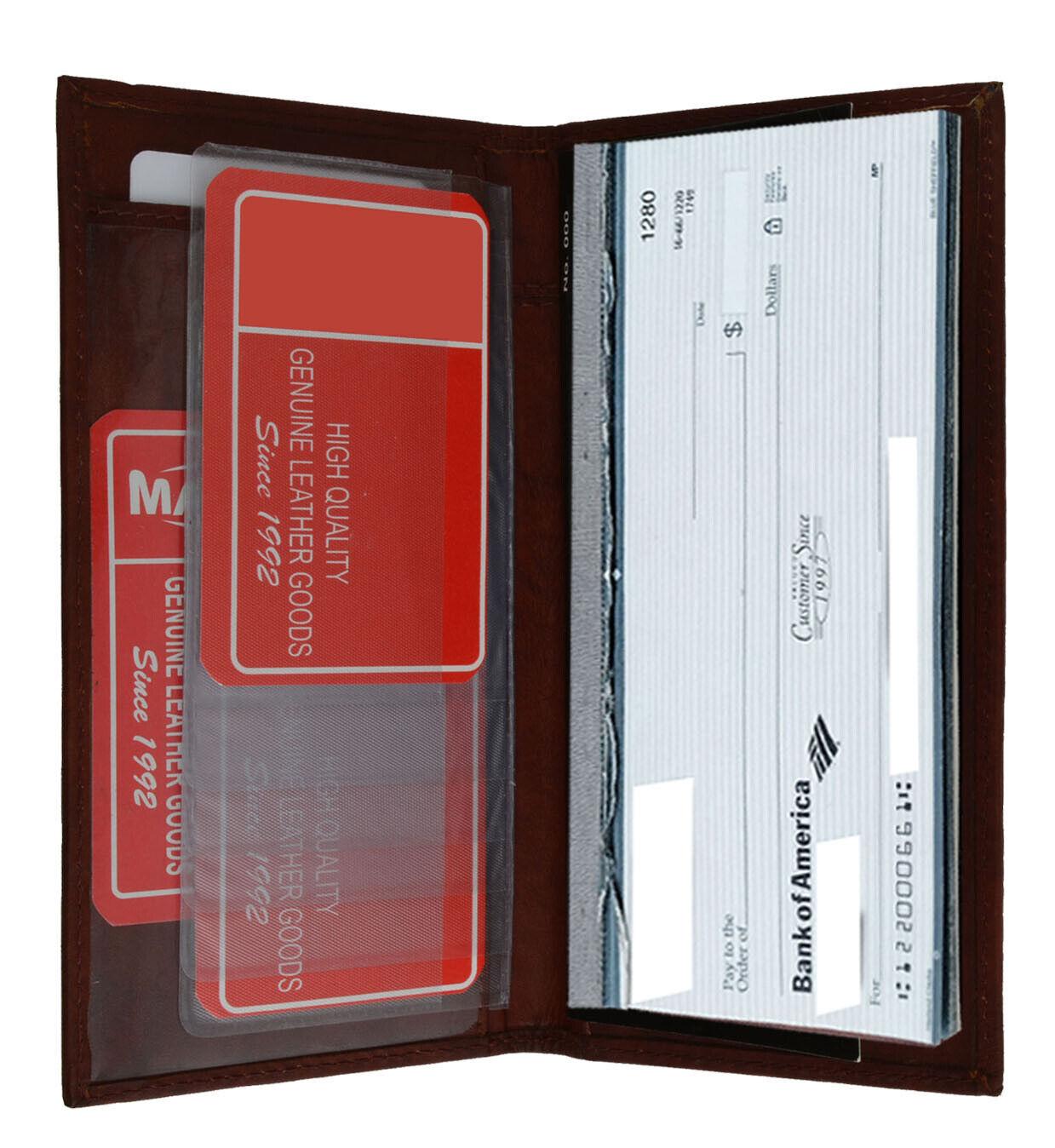 Black Cowhide Leather Checkbook Cover Simple Card Wallet Men Women