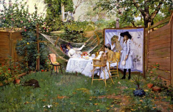 """abierto Aire Desayuno"" Por William Merritt Chase. Lienzo Vida Arte 11x17 Hermoso En Color"