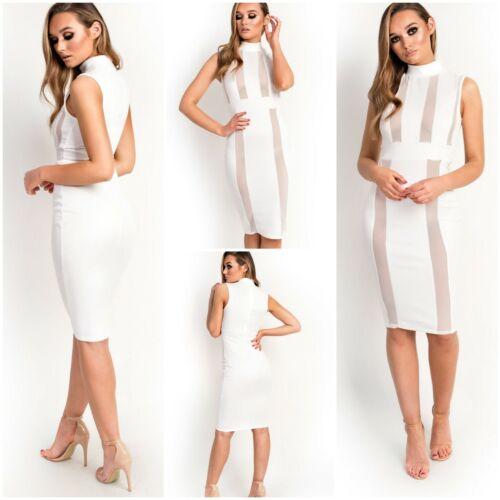 Ladies Polo High Neck Sheer Mesh Panel Stripe Sleeveless Bodycon Midi Dress