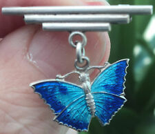 Vintage Art Deco Silver & Enamel Butterfly Brooch with Silver Bar Fastener