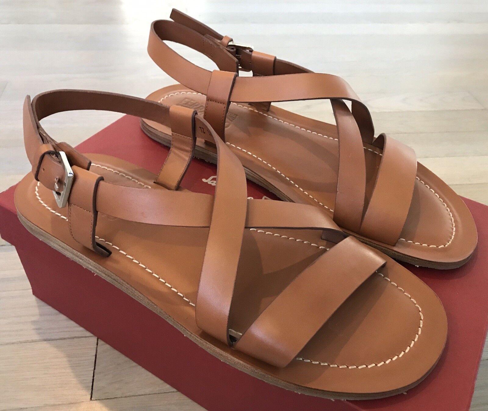 650  Salvatore Ferragamo Nostro Khaki Leather Sandals Size US 12 Made in