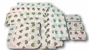 9pc Muslin Swaddle Blankets, Burp Bibs & Washcloths Bundle- Newborn Baby Gift