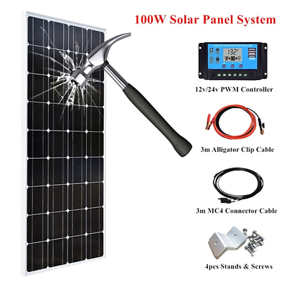 100W//18V Glass Solar Panel Solar Module for Caravan Home Boat 12V Battery Charge