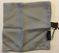 Lanvin Mens Grey Solid Pocket Scarf 100% Silk Italy