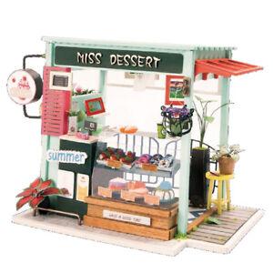 Details About 124 Diy Wooden Dollhouse Miniature Kits W Cover Sweet Dessert House Shop