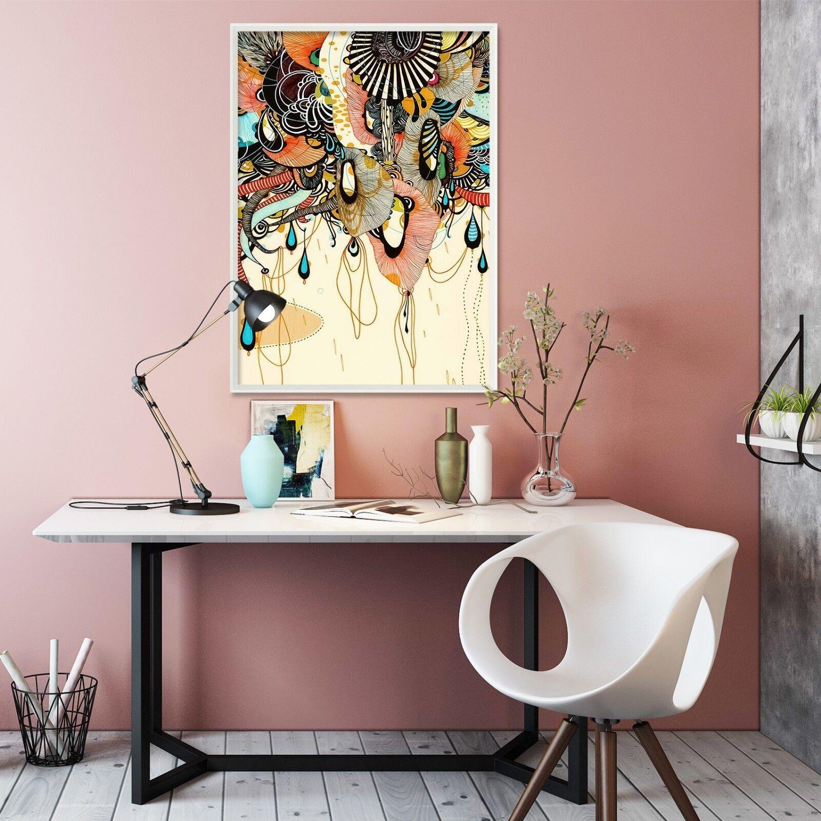 Patrón de Colgante 3D 51 Póster Enmarcado Decoración del Hogar Pintura de Impresión Arte AJ