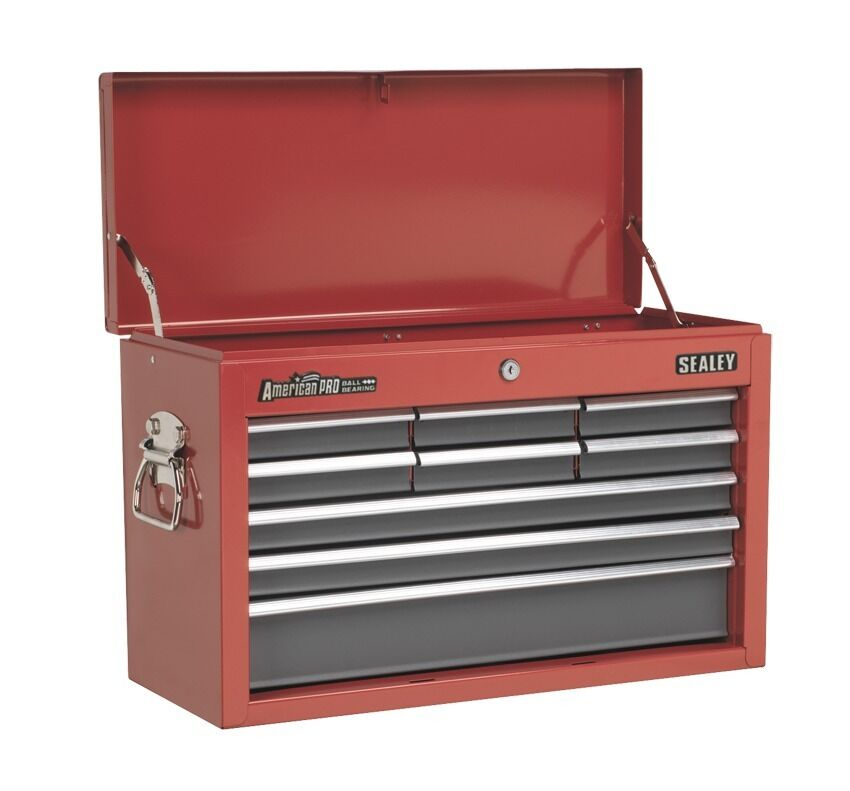 Sealey Topchest 9 Drawer with Ball Bearing Runners - Red Grey AP22509BB