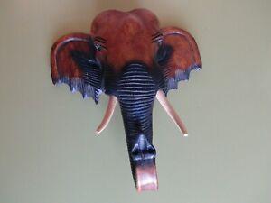 Tête d'Eléphant en Bois Décor Mural