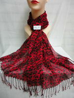 Leopard Print Pattern Light Weight Wrap Or Scarf Color Red