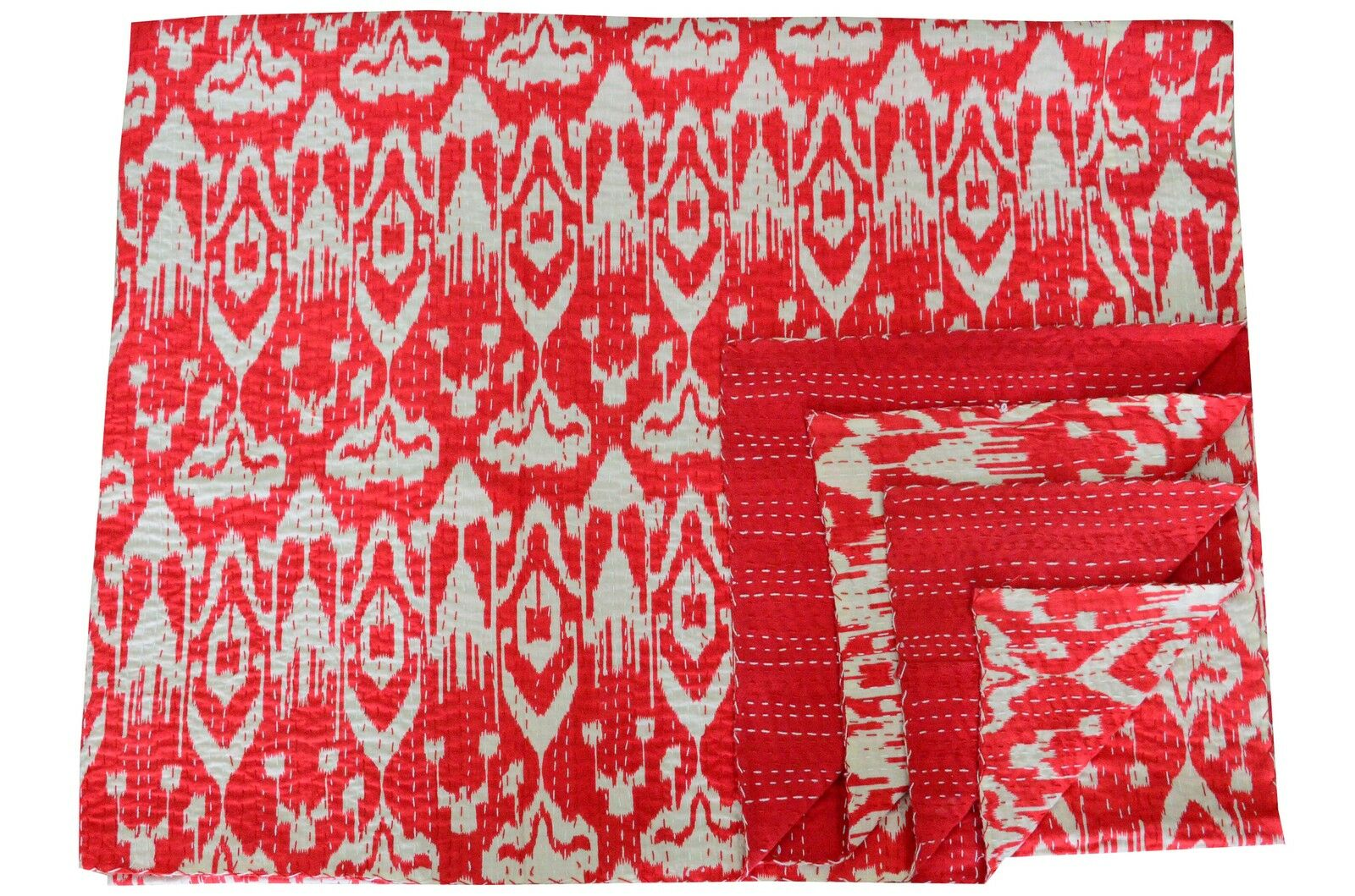 Indian Vintage Cotton Kantha Quilt Abstract Ikat Printed Queen Bedspread Decor