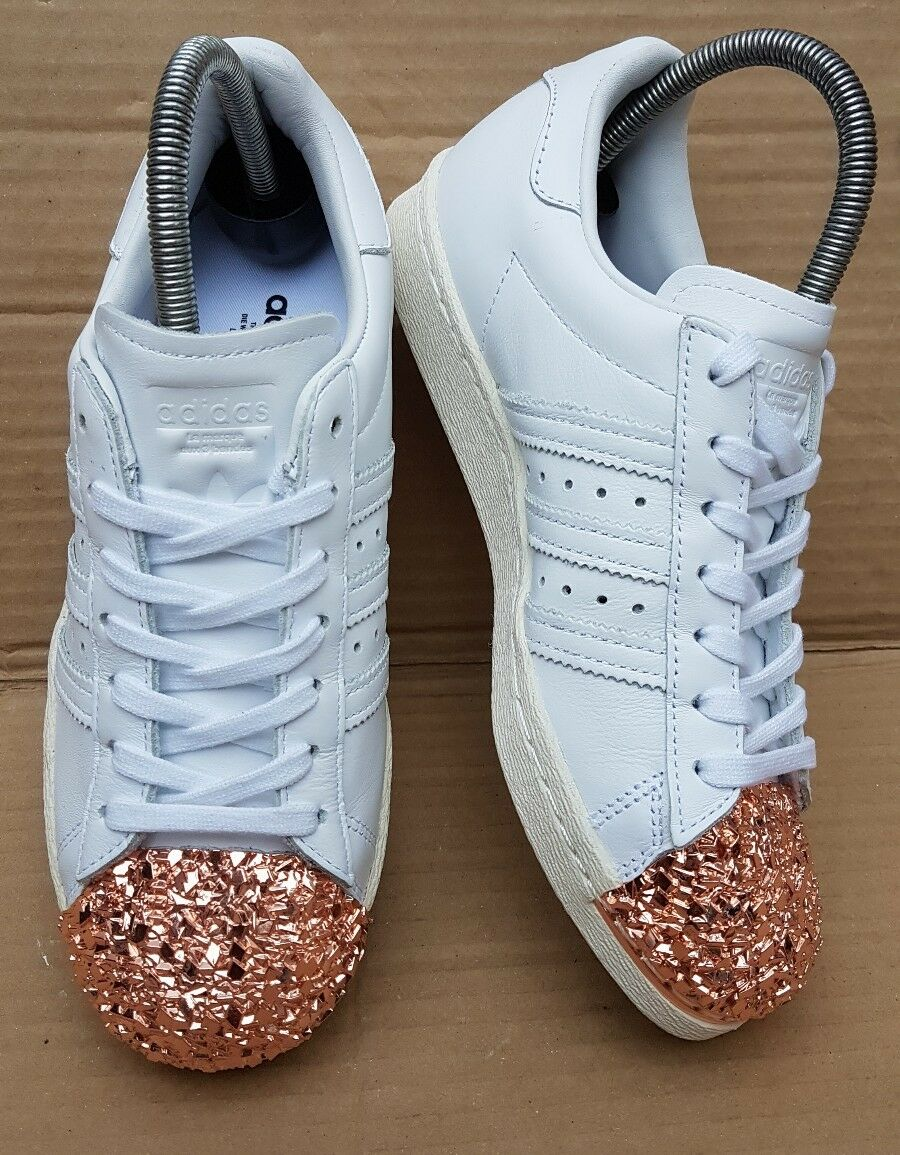 Magnifique Adidas Superstar Blanc/Or Rose 3D Crackle Baskets Taille 7 UK