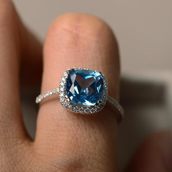 2.70 Ct Cushion Real Topaz Diamond Wedding Ring 14K Solid White gold Rings Size