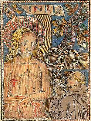 FRENCH 15TH CENTURY MAN SORROWS FRANCISCAN OLD ART PAINTING POSTER BB5374A