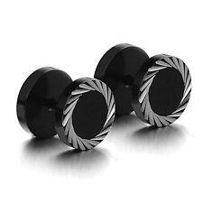 MENDINO Men's Stainless Steel Stud Earrings Tunnel Plug Laser Screw Back Black
