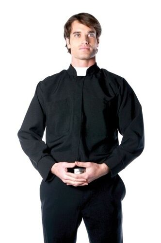 ADULT MENS BLACK PRIEST SHIRT RELIGIOUS FATHER PRIEST COSTUME SHIRT 29015
