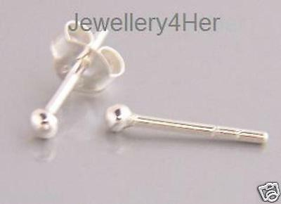 925 Sterling Silver 2mm small Plain Ball Studs Earrings buy 2 pair get one free