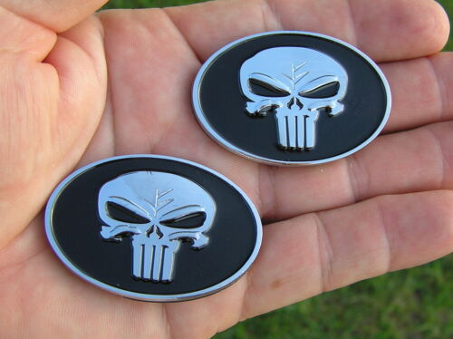 UK ~ PUNISHER SKULL 50mm PAIR of BADGES 2 inch  METAL CAR EMBLEMS *NEW!* Scull