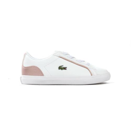 UK 6 Lacoste Lerond 319 2 Infant Kids Girls Trainer Shoe White//Pink
