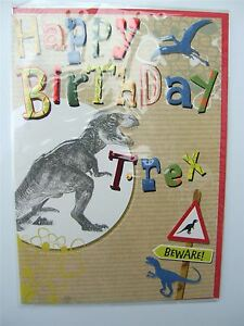 Image Is Loading Dinosaurs T Rex Birthday Card For Any Age