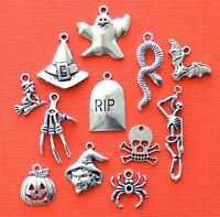 Halloween Charm Collection 12 Tibetan Silver Tone Charms Free Shipping E70