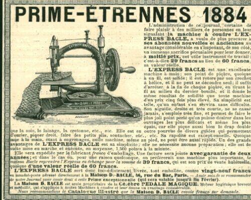 Gravure ancienne 1883 prime-étrennes machine à coudre 1884 issue du livre