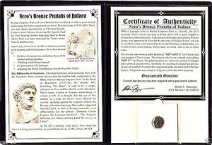 Roman-Emperor-Nero-039-s-Bronze-Prutah-Coin-by-Festus-Album-Story-amp-Certificate