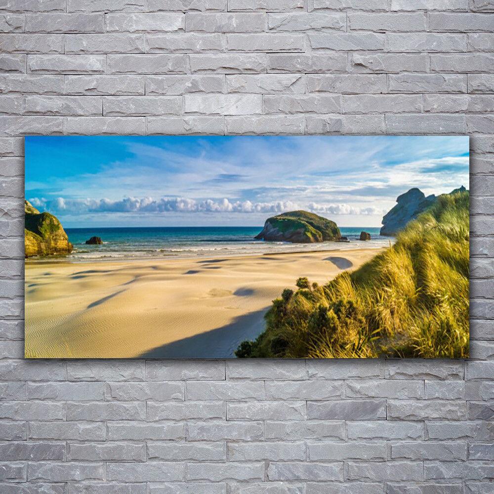 Acrylglasbilder Wandbilder Druck 120x60 Strand Felsen Landschaft