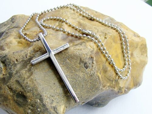 Stainless Steel Necklace Silver Pendant Cross Religious Prayers  52x28mm
