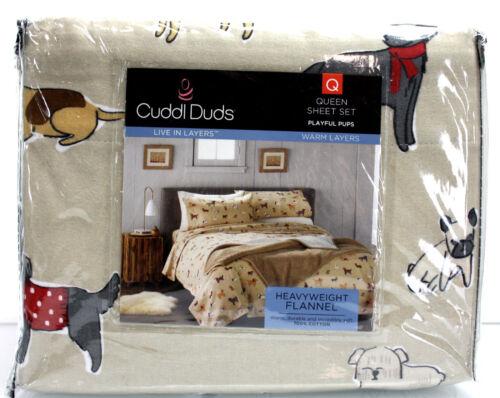 Cuddl Duds Heavy Weight 100/% Cotton FLANNEL Sheet Set Khaki Puppy Dogs