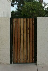 Details About Wooden Gate Steel Iron Metal Framed Timberwood Infill Gate Security Gate