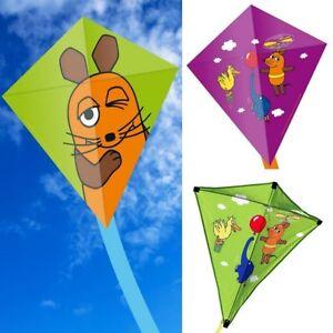 Kinder-Drachen-Eddy-034-Die-Maus-034-2-Groessen-Einleiner-Kite-Die-Sendung-mit-der-Maus