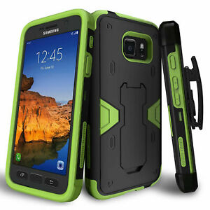 For-Samsung-Galaxy-S7-Active-G891A-Holster-Belt-Clip-Armor-Case-Green-Cover