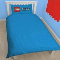 LEGO BRICKS CITY HEROES SINGLE BLUE DUVET SET QUILT COVER BLOCKS BOYS BEDDING
