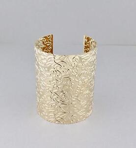 Image Is Loading Gold Cuff Bracelet Fl Stamped Pattern Metal Bangle