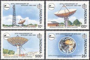 Tanzania-1991-INTELSAT-Space-Radio-Satellite-Dish-Aerial-Communications-4v-s2435
